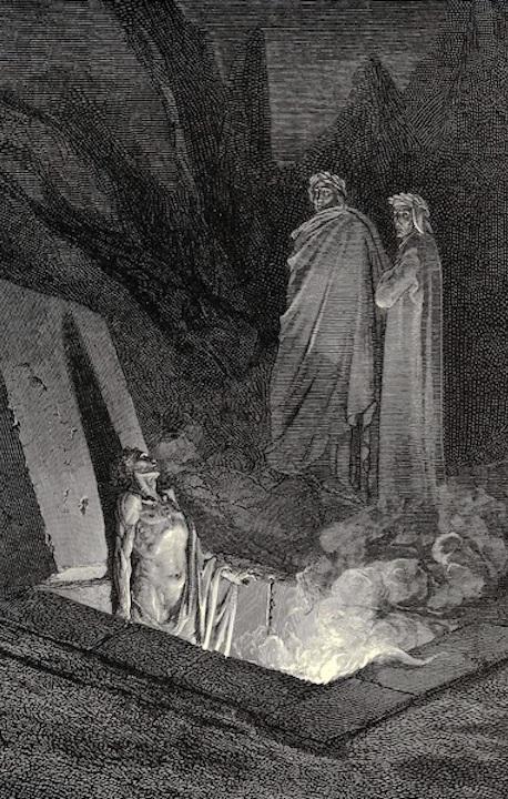 """Gustave Doré, """"Farinata degli Uberti Addresses Dante,"""" 1866, woodcut print. Public domain image."""