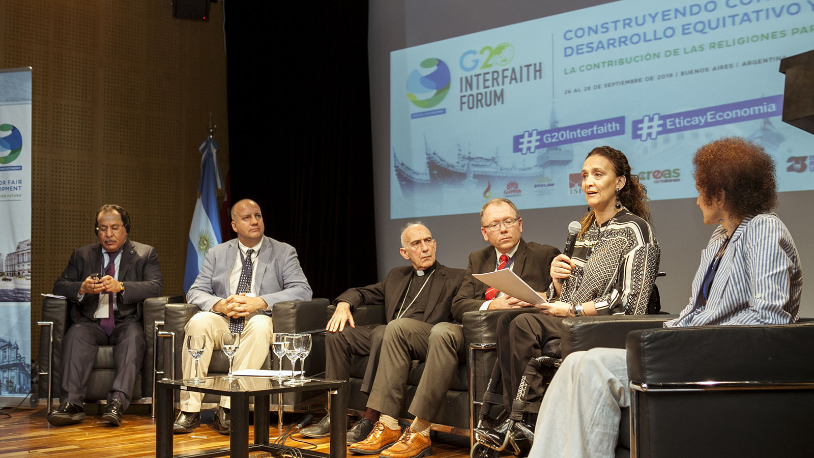 Panelists speak during a session of the 2018 Interfaith Forum in Argentina.