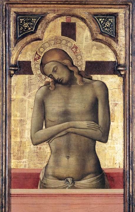 "Lorenzo Monaco, ""Christ as the Man of Sorrows,"" 1415–1417, tempera on panel. Public domain image."