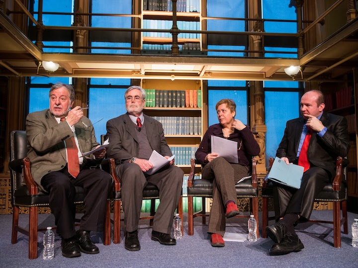 """José Casanova, Dennis Doyle, Sandra Mazzolini, and Gerard Mannion (L-R) speak at the conference """"A New Vision for the Church"""" in March 2014."""