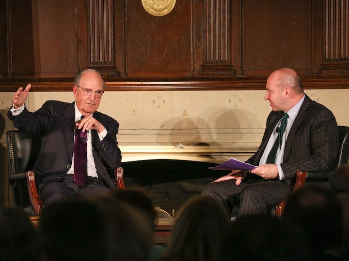 Former Senator George Mitchell in conversation with Gerard Mannion.