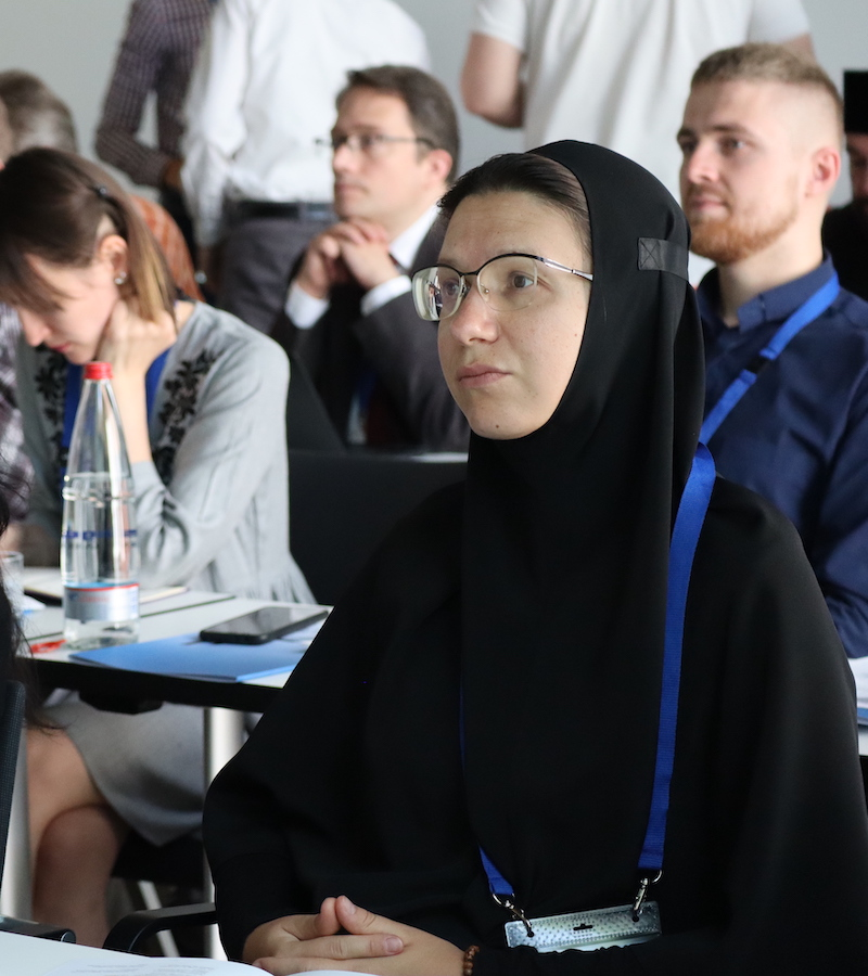 """EI participants attend a lecture at the July 2019 """"Stolen Churches or Bridges to Orthodoxy?"""" conference."""