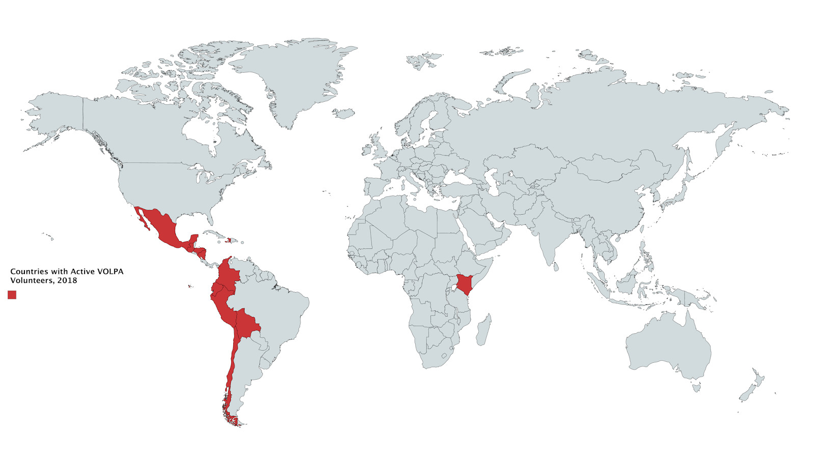 Map highlighting the countries with active VOLPA volunteers in 2018