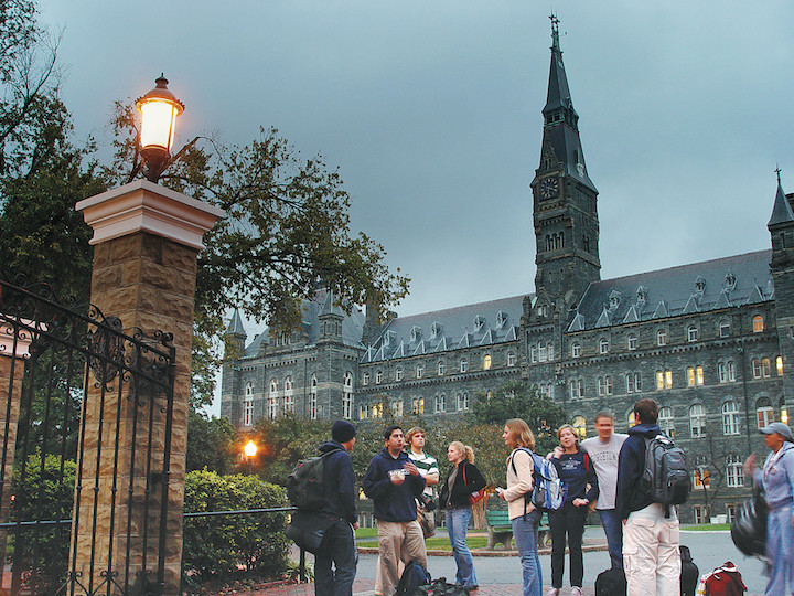 Students gather outside Healy Hall at Georgetown.