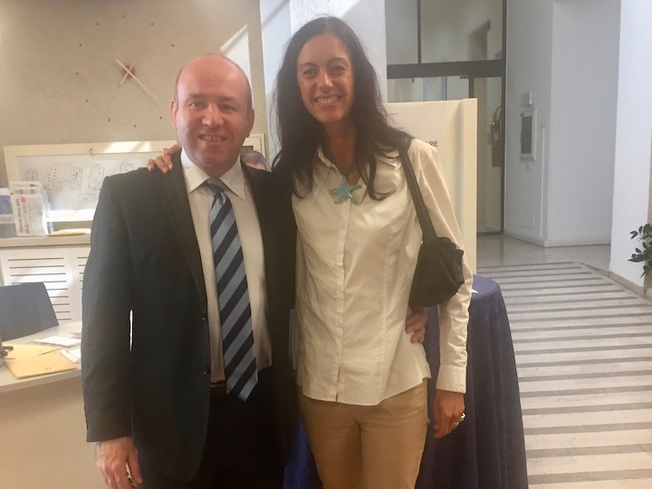 """Gerard Mannion and Debora Tonelli at the October 2017 """"Exiting Violence: From Texts to Theories"""" conference in Trento, Italy."""