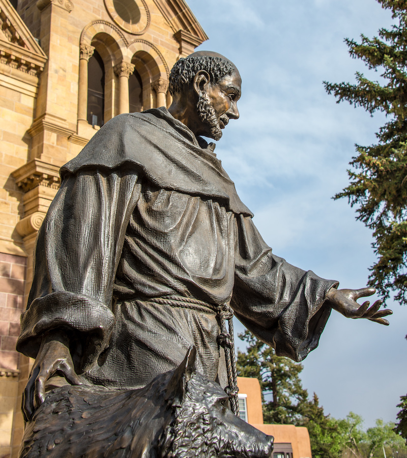 Statue of St. Francis of Assisi in Santa Fe, New Mexico. Photograph by Kent Kanouse, 2014.